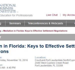"Christopher Hopkins to Speak at NBI ""Mediation in Florida"" in Fort Lauderdale"
